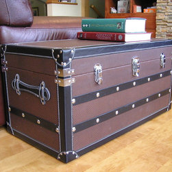 None - Decorative Sterling Medium Wood Steamer Trunk Wooden Treasure Hope Chest - This beautiful wood trunk features old fashioned hardware for an antique look. This decorative treasure chest is great as a coffee table or end table, and can also be used a convenient storage solution.