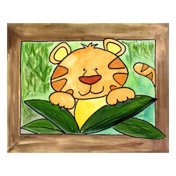 Oh How Cute Kids by Serena Bowman - Here's Looking at You - Tiger, Ready To Hang Canvas Kid's Wall Decor, 20 X 24 - Who's looking at you?  Mr. Tiger, that's who!