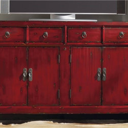"""Hooker Furniture - Red Entertainment Console - White glove, in-home delivery included!  This charismatic entertainment console offers two drop-front drawers, two sets of doors with one adjustable shelf behind each set of doors, one infrared eye and one three plug outlet.   Bottom shelf space (2): 21 1/2"""" w x 18"""" d x 9 1/2"""" h  Drawers (2): 24"""" w x 19"""" d x 4 1/4"""" h  Top shelf space (2): 21 1/2"""" w x 18"""" d x 9 1/4"""" h"""