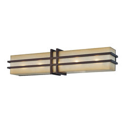 Underscore 5 Light Bath Sconce - This medium length wall sconce is a dynamic blend of Arts & Crafts, Art Deco and Mid-Century design influences. The silhouette is bold and geometric, yet softened with caramel silk glass and a distressed Cimarron bronze finish. A dramatic statement for your bath or dressing room! Can be mounted horizontal or vertical.