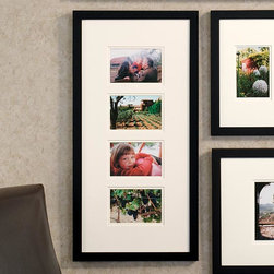 """Exposures - Modular Wall Frame Quad 14x28 (4x6) - Overview This natural wood frame holds four 4"""" x 6"""" photos with a warm white mat. Arrange a dramatic square grouping by combining assorted square and rectangle photo frames. The possibilities are perfectly pleasing. Features Solid wood frame Warm-white mat Vertical or Horizontal Wall display only  Specifications  Quad frame holds four 4"""" x 6"""" photos and measures 28"""" wide x 14"""" high"""