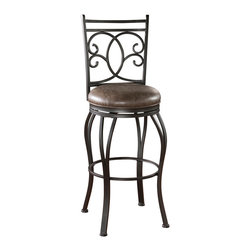 American Heritage - American Heritage Nadia Stool in Coco with Coco Bonded Leather Cushion - 30 Inch - Add a touch of romance to your space with the shapely Nadia stool. finished in Coco with a Coco Bonded leather seat with a Full-bearing 360� swivel, Adjustable leg levelers and a designer back pattern, this stool will add warmth and a sense of style for years to come.