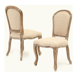 Great Deal Furniture - Dominique Weathered Oak Armless Beige Dining Chair (set of 2) - Give your home a touch of European class with our Dominique Weathered Oak Armless Dining Chairs. The frame is sturdy, made of a solid oak that will last for years, weathered to give it the Victorian vintage look you desire. These chairs boast a unique weathered frame and linen upholstered plush seat and back that is both comfortable and graceful. Whether at the dining table or in the living room, these chairs will be a fabulous addition to your home. You will want to keep a pair of these chairs in each and every room.