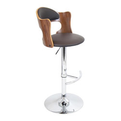 Lumisource - Cello Barstool in Walnut Finish - Adjustable height from 37.5 to 42 in.. Polished chrome accessories. Made from bent wood, PU, foam and chrome. Walnut and brown matte PU finish. Assembly required. 20 in. W x 19 in. D x 42 in. H (20.5 lbs.)Unique does not begin to describe the one of our new stools. Luxurious brown cushions on the back and seat help draw the eye in and keep you in your seat. The open back and butterfly edges set this stool apart in comfort and style.
