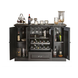 "American Heritage - American Heritage Carlotta Bar in Antique Black - Bar in Antique Black belongs to Carlotta Collection by American Heritage The 60"" Carlotta Bar is truly the perfect combination of beauty and function. It serves as a wonderful accent piece that fits right into any room but easily converts into a server's dream. Finished in Antique Black with Charcoal Bronze Accent hardware, glass stemware holders line the top of this cabinet. Adjustable shelves and a pull-out drawer add additional, versatile storage, and the dual pull-out wine racks can hold up to 8 bottles of wine. The Carlotta will instantly become the gem of any room it graces.  Bar (1)"