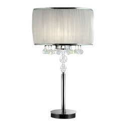 OK Lighting - Ore International K-5139T Pure Essence Table Lamp Multicolor - K-5139T - An angelic sheer white pinched pleat drum shade with chrome trim gives the ORE International K-5139T Pure Essence Table Lamp its allure. Designed to add glamour to any space this table lamp works with modern vintage or even rustic decors. It features a polished chrome base with imported beveled and smooth sphere crystals. Requires three 40-watt bulbs.