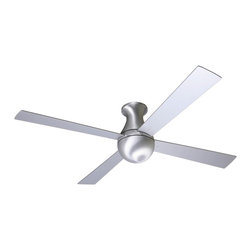 "Modern Fan - 52"" Modern Fan Aluminum Finish Ball Hugger Ceiling Fan - This 52"" hugger-style ceiling fan from the Ball Collection is perfect for smaller rooms and low ceiling applications. It comes in an eye-catching aluminum finish with four aluminum blades and includes a 4-speed wall control for fan speed only. 153 x 18mm motor size. Limited lifetime motor warranty. 52"" blade span. 12 degree blade pitch. From Modern Fan Company. (UM)  Aluminum finish.    Includes a 4-speed wall control.   153 x 18mm motor size.    Limited lifetime motor warranty.   52"" blade span.   12 degree blade pitch.  Fan height 13"" ceiling to bottom of the fan."