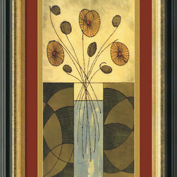 Amanti Art - Sur la Table I Framed Print by Mark Cabral - Terra-cotta, green and gold come together in this attractive framed print by Mark Cabral. The antique gold lining of the frame perfectly accents the earthen hues.