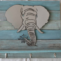 Elephant head on turquoise wood frame - Made out of steel, mounted on a reclaimed wood.