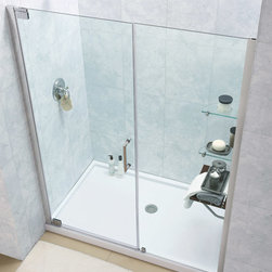 "Dreamline - Elegance Frameless Pivot Shower Door & SlimLine 32"" x 60"" Single Threshold Base - This DreamLine shower kit combines an ELEGANCE pivot shower door with a coordinating SlimLine shower base. The ELEGANCE pivot shower door delivers a fresh modern look with a frameless glass design, while adjustable installation features provide a perfect fit. A SlimLine shower base completes the transformation with a modern low profile design. Give your bathroom renovation a touch of elegance with this efficient bathroom renovation solution."