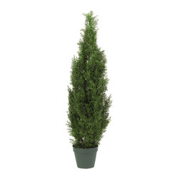 Nearly Natural - 4' Cedar Tree Silk Tree (In-door/Out-door) - The Cedar Pine is renowned for its gentle beauty that lasts the entire year. It's also a very versatile plant in terms of look - equally at home in a summer garden, a rustic den, or a snowy backyard. And our 4' tall Mini Cedar Pine Tree perfectly captures the essence of the real thing, without the care a live tree needs. Boasting 1,000 tips, this elegant tree will enhance any decor, and also makes an ideal gift.