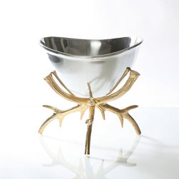 Frontgate - Stag Grand Pedestal Bowl - Handmade. Sand cast of proprietary metal alloy. Gold finish is metal alloy with 24k gold plating. Food safe. Tarnish-resistant. Handcrafted from beautiful sand-cast metal alloy, the distinctive Staghorn Grand Pedestal Bowl combines rustic and refined sensibilities for a luxurious look. The base is created of gold-plated antlers that cradles the generous silver bowl that's ideal for fruits, punch, salads, side dishes and much more.  .  .  .  .  . Hand wash with mild detergent; towel dry .