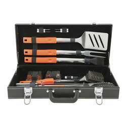 Mr Bar B Q - 18-Piece Tool Set with Plastic Case - Mr. Bar-B-Q 18 Pc. BBQ Tool Set With Tire Track print Plastic Case. All Stainless Steel tool heads and finger grip handles. Included are all the essential tools for the great grill chef to whip up some BBQ like a spatula, tongs, grill brush, basting brush and more