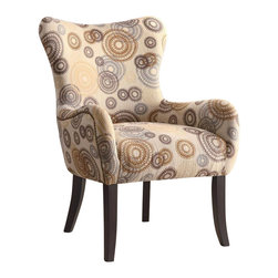 Coaster - Coaster Accent Chair in Beige Circle Design - Coaster - Accent Chairs - 902052 - This plush accent chair has nailheads on the sides and its back with beautiful brown wood cappuccino legs. Sit back and relax in this wonderful chair from Coaster.