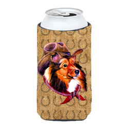 Caroline's Treasures - Sheltie Dog Country Lucky Horseshoe Tall Boy Koozie Hugger - Sheltie Dog Country Lucky Horseshoe Tall Boy Koozie Hugger Fits 22 oz. to 24 oz. cans or pint bottles. Great collapsible koozie for Energy Drinks or large Iced Tea beverages. Great to keep track of your beverage and add a bit of flair to a gathering. Match with one of the insulated coolers or coasters for a nice gift pack. Wash the hugger in your dishwasher or clothes washer. Design will not come off.