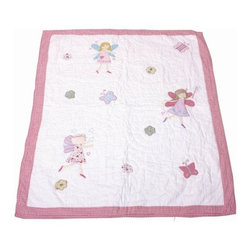 Babyface - Fairy Quilt/Throw Twin - Hand Quilted & Appliqued in 100% cotton - twin