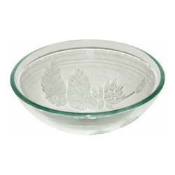 The Renovators Supply - Vessel Sinks Frosted/Etched Glass Bella Flora Round Vessel Sink | 10881 - Glass Vessel Sinks: Single Layer Etched Tempered glass sinks are five times stronger than glass, 1/2 inch thick, withstand up to 350 F degrees, can resist moderate to high degrees of impact and are stain-proof. Ready to install this package includes FREE 100% solid brass chrome-plated pop-up drain, FREE machined 100% solid brass chrome-plated mounting ring and silicone gasket. Measures 16 1/2 inch diameter x 6 inch deep x 1/2 inch thick.