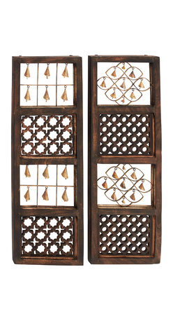 Benzara - Classic and Lovely Style Wood Bell Wall Panel 2 Assorted Home Decor - Description: