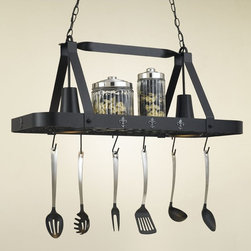 Hi-Lite MFG - Fleur De Liz 2-Lite Pot Rack - Includes six pot rack hooks, 3 ft. chain and 7 ft. wire. Accessories not included. UL listed. Made from steel. Black leather finish with accent silver. 36 in. L x 15 in. W x 15 in. HHi-Lite achieved success through attention to detail and stubbornness to only manufacture the highest quality product. Hi-Lite has built its reputation as a premier lighting manufacturer by using only the finest raw materials, inspirational designs, and unparalleled service. This allows us great flexibility with our designs as well as offering you the unique ability to have your custom designs brought to light.
