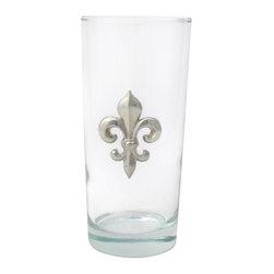 Jon Margeaux - Alligator Beverage Glasses, Set of 4 - Set of 4 (15 oz.) Beverage Glasses accented with a pewter accent. Dishwasher safe. Made in USA