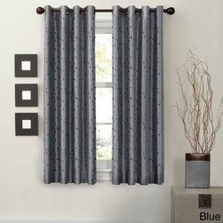 Maytex - Jardin Embroidery Thermal Lined Energy Window Panel - This lovely faux silk fabric window curtain with leaf embroidery is thermal lined to block light,noise reduction,and energy saving from heat and cold. Solid color in faux silk adds luxury and elengance to any room.