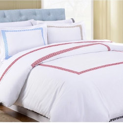 Impressions - Impressions Kendell Cotton Duvet Cover Set - KENDELL-TXLDC-BG - Shop for Bedding Sets from Hayneedle.com! Your bed deserves to look its best - make it happen with the Impressions Kendell Cotton Duvet Cover Set. Made of 100% cotton with a 200-thread count this duvet cover features an embroidered Greek key motif that s available in a full range of colors. Two pillow shams also come included (one with Twin/Twin XL option). Machine washable. For the complete look check out other pieces in the Impressions Kendell bedding collection.Dimensions:Twin/Twin XL: 68L x 90W inchesFull/Queen: 90L x 92W inchesKing/California King: 92L x 106W inchesStandard sham: 20L x 26W inchesKing sham: 20L x 36W inchesAbout Home City Inc.Established in the 1980s in Queens New York selling towels and lower-thread-count sheets Home City Inc. started in small office and has developed into a worldwide manufacturing and importing company based out of Brooklyn NY. They were able to establish the name Home City Inc. in 2003 which set the tone for the growth in a company that boasts over 25 years of experience in production. Over the years Home City has developed and perfected unparalleled quality products that now serve domestic and international retail stores. Today Home City's fulfillment center is located in Linden NJ with a showroom on Fifth Avenue in New York NY allowing them to provide their customers with an expanded selection of sheet sets duvet cover sets bed skirts pillowcase sets bed-in-bag sets down comforters mattress toppers pillows quilts robes towel sets and more.