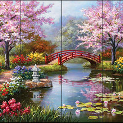 The Tile Mural Store (USA) - Tile Mural - Sk - Japanese Garden - Kitchen Backsplash Ideas - This beautiful artwork by Sung Kim has been digitally reproduced for tiles and depicts a beautiful japanese garden.  This garden tile mural would be perfect as part of your kitchen backsplash tile project or your tub and shower surround bathroom tile project. Garden images on tiles add a unique element to your tiling project and are a great kitchen backsplash idea. Use a garden scene tile mural for a wall tile project in any room in your home where you want to add interesting wall tile.