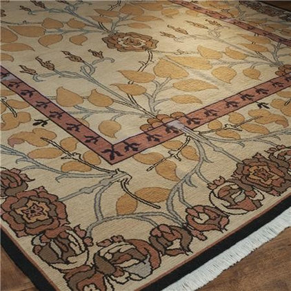 Traditional Rugs Cream and Orange Arts and Crafts Soumak R
