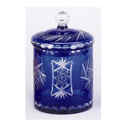 AA Importing - Decorative Storage Jar in Cobalt Blue Overlay - Glass. 6.5 in. Dia. x 10 in. H