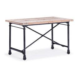 Presidio Heights Desk Natural Oak - Fir Wood and Metal Desk in Natural Oak