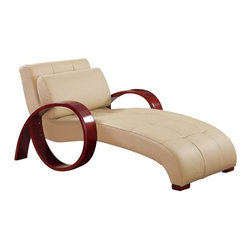 Global Furniture USA - R963 Cappuccino Bonded Leather Lounge Chaise Chair - The R963 chaise lounge is a modern update to the classic lounger with a stylish design perfect for any decor. This chaise comes fully wrapped in a beautiful cappuccino bonded leather. High density foam is placed within the lounge for added comfort. The chaise features mahogany wood arms in a unique curved design. The price shown includes the chaise chair only.