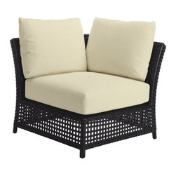 """McGuire Furniture - Antalya Outdoor Sectional Slipper Chair: AN-13 - The Antalya Outdoor Sectional is comprised of generously scaled and thoughtfully designed profiles of a Corner chair, Slipper chair and Ottoman. Constructed of 15mm wide woven resin in an open weave pattern tightly wrapped around powder-coated aluminum, each frame is uniquely McGuire. The Sectional Corner Chair, Slipper Chair and Ottoman can be paired in numerous ways to create personal configurations. Whether a long, sleek sofa arrangement is desired, or a more robust modern """"L"""" shape is needed, the finished look and feel is both refined and inviting. Available in Driftwood or Havana finishes; drainable foam cushions. Throw pillows are optional."""