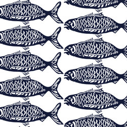 School O' Fish - One of our most popular prints, School O Fish in navy on white is now available in upholstery-weight linen/ cotton blend. Based on an original block print, this design is hand screen printed in the USA and suitable for upholstery.