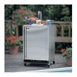 """Marvel - Outdoor 6OHKSSFT 24"""" Built In Beer Refrigerator with 1/6 Keg Accommodation  Tapp - Heavy duty casters and mug rails let you move the party wherever you like Built with corrosion resistant commercial grade stainless steel and featuring pro-style handles and stainless steel toe kicks it39s the perfect complement for your outdoor kitc..."""