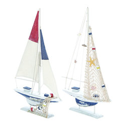 Benzara - Modern Assorted Wooden Sailing Boat in White Finish - Set of 2 - Enhance home interiors with a distinctive appeal with this assorted wooden boat set that comes with 2 mantle pieces of different colors. As mementos of the ocean, this boat set is crafted to meet a sailor's expectation of the charm and style of life at sea. This assorted boat set includes all the elements of fun and frolic, ensuring it is not only appealing but also very amusing. It includes a blend of royal blue, yellow and red that brings beauty beyond words to the design. An excellent choice for contemporary settings, this mantle place accessory can liven up living room decor with its eye catching appearance. Crafted with fine attention to detail and comic components, this sailing boats set is every sailor's dream to possess. It is available in 2 size variants - 22 in.  H x 13 in.  W x 2 in.  D, 22 in.  H x 13 in.  W x 2 in.  D.