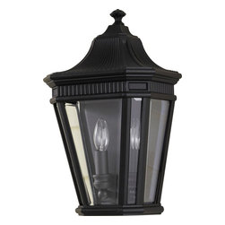 Murray Feiss - Murray Feiss Cotswold Lane Transitional Outdoor Wall Sconce X-KB3045LO - Traditional European styling complimented by clean finishes, this Murray Feiss outdoor wall sconce will compliment a number of architectural styles. From the Cotswold Lane Collection, it features clear beveled glass panels and a dark but stylish Black finish over sturdy aluminum construction.