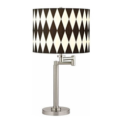 Design Classics Lighting - Pauz Swing Arm Table Lamp with Harlequin Lamp Shade - 1902-09 SH9491 - Contemporary / modern satin nickel 1-light table lamp. Swing arm has a maximum 9-inch extension. Features a black and white harlequin pattern drum shade. Takes (1) 100-watt incandescent A19 bulb(s). Bulb(s) sold separately. UL listed. Dry location rated.