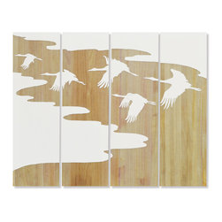 Palecek - Flying Birds Wall Decor, Set of 4 - Tung wood panels painted white with ocean view and flying birds hand-carved to reveal natural wood. Metal hanger at the top back of each panel.