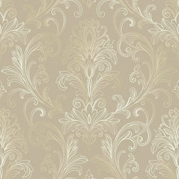 Ballard Designs - Linear Damask Wallpaper Taupe/Pearl Metallic Double Roll - Double roll. Pre-pasted. Washable. Strippable. The graceful and delicate acanthus leaf motif of this transitional wallpaper is artistically sketched in outline filigree detail creating an intricate and softly framed damask that is light, airy and elegant. Linear Damask Wallpaper features: . . . .