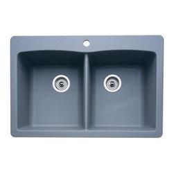 Blanco - Blanco Diamond Double Bowl Kitchen Sink, Metallic Gray (440219) - Blanco 511-603 Blancodiamond Double Bowl Kitchen Sink, Metallic Gray
