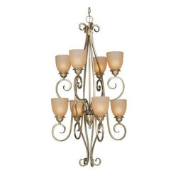 Vaxcel - Tuscan Eight Light Up Lighting Two Tier Chandelier - Antique Brass - Bulb Base: Medium (E26). Bulb Wattage: 100. Bulb Count: 8. Bulbs Not Included