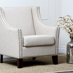 Abbyson Living - Abbyson Living Soho Cream Fabric Nailhead-trim Armchair - Enjoy luxury seating with this stunning armchair from Abbyson Living. This lovely piece comes in a stunning cream color and has a bronze nailhead trim throughout the chair.