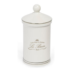 "Kassatex - Kassatex Le Bain Collection Cotton Jar - Cotton balls and swabs come and go, but with this ""Luxe Pour la Maison"" cotton jar, you know that you'll always have Paris … mais oui!"