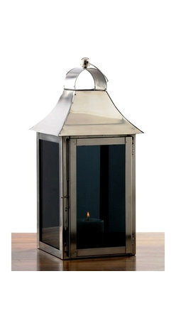 Alliyah Rugs - Smoky Glass Square Lantern Small - The candles inside these atmospheric smoked glass lanterns will burn with a subtle glow that is perfect for a winter's night. To complement the dark glass, the exterior of these lanterns are all about glossy metal and sleek styling, topped off with a smart round handle.