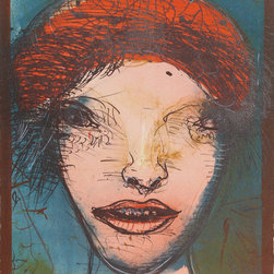Leonel Gongora, Portrait of a Woman with Red Hat, Lithograph - Artist:  Leonel Gongora, Colombian (1932 - 1999)