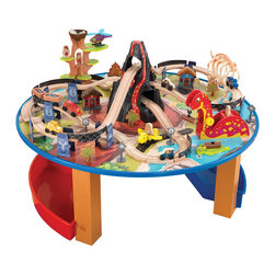 "KidKraft - Kidkraft Kids Children Decor Fun Play Toy Dinosaur Train Set And Table Furniture - Dinosaurs, giant insects and cavemen, oh my. Our 95-piece Dinosaur Train Set and Table is perfect for any of the budding archeologists in your life. Young boys and girls will love pushing the train cars in and out of the lava-filled volcano and through the tunnel made of dinosaur bones. Dimension: 40.16""x 40.16""x 15.24"""