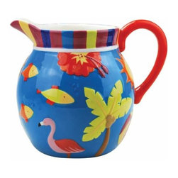 WL - 8 Inch Flamingo and Palm Tropical Motif Dining Ware 105 Ounce Pitcher - This gorgeous 8 Inch Flamingo and Palm Tropical Motif Dining Ware 105 Ounce Pitcher has the finest details and highest quality you will find anywhere! 8 Inch Flamingo and Palm Tropical Motif Dining Ware 105 Ounce Pitcher is truly remarkable.