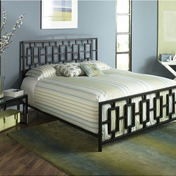 None - South Beach King-size Bed - This South Beach king-sized bed is a great choice for a contemporary-styled bedroom. The king-size bed has five sturdy legs and features a metallic, coffee-colored rectangular grill pattern on the headboard and footboard, giving clean, modern looks.