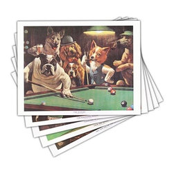 "Sterling Gaming - ""Dogs Playing Pool"" Prints - Set of 5 - Popular prints for pool room. ""Dogs Playing Pool"" theme. 20 in. W x 16 in. H (2.5 lbs.)"