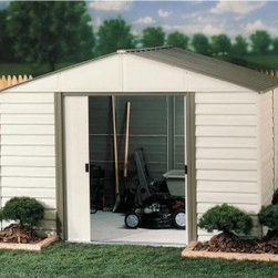 Arrow Vinyl Milford 10 x 8 ft. Shed - When faced with the prospect of having to clean out the garage, you'll be glad to have an Arrow Vinyl Milford 10 x 12 ft. Shed. Garages seem to have an unexplainable gravitational pull that attracts anything and everything from all around your home and yard. But garages are for cars after all. This roomy multipurpose storage shed offers you a perfect place to organize all those miscellanea that tend to otherwise clutter up living spaces like your yard, basement, or garage - from tools to toys to lawn-management equipment. The handsome look of the almond and gray-bark color combination also adds a rich, clean appearance that compliments any exterior design or landscaping. The high gable allows you plenty of room to move around, so you won't bump your head or hurt your back while bending over. And the easy-sliding doors can be padlocked to keep your equipment safe. Made in the United States, this shed is constructed with vinyl-coated electro-galvanized steel, making it five times thicker and stronger than standard steel buildings. With numbered and predrilled parts, this shed can be assembled quickly and easily as a weekend project with basic DIY skills.Additional Features:Exterior Dimensions: 123.25W x 145.75D x 86H inchesInterior Dimensions: 118.25W x 140.5D x 84.75H inchesDoor Dimensions: 55.5W x 64.5H inchesAbout Arrow ShedsEstablished in 1962 as Arrow Group Industries, Arrow Sheds is now the worldwide leader in designing, manufacturing, and distributing steel storage sheds that are easily assembled from a kit. Arrow Sheds hasn't garnered its 12 million customers by resting on its laurels either. The company takes great pride in having listened to their customers over the years to develop quality products that meet people's storage needs. From athletic equipment to holiday decorations, from tools to recreational vehicles, Arrow Sheds prides itself on providing quality USA-built structures that offer storage solutions. Available in a wide variety of sizes, models, finishes, and colors - Arrow's sheds are constructed with electro-galvanized steel to be more affordable, durable, attractive, and easy to assemble.